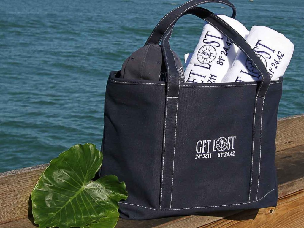 Get Lost beach bag on the beach